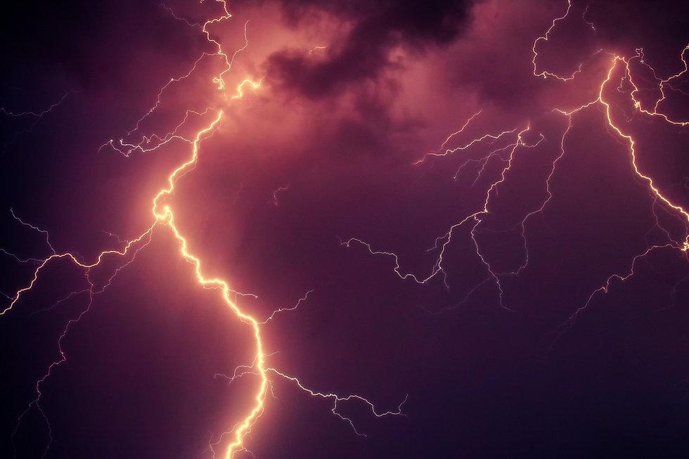 Purple sky and lightning