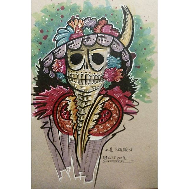 #inktober no 16 #skeleton #dayofthedead
