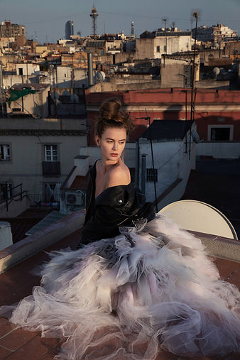 """Fashion shot from and editorial called """"guided by the wind"""" shot downtown Barcelona in 2019 and published in Shu String Magazine. With wardrobe stylist Dani Davilla, model Clara Marie, Agency Fleming Models"""
