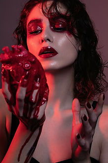 """Beauty image from an editorial called """"Dark Valentines"""" shot at Lair Studio Barcelona in 2018. With model Alissa Damina, makeup artist Patrica Mullen, assistant Daniel Vasquez"""