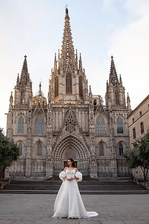Fashion shot from a campaign with Anne Barge shot downtown Barcelona in 2019 with model Abi Penhale, assistant Maurizio Pedroni, makeup artist Kristiana Zaula, Shawne Reece, Jennifer Weinberg, Angelica Crossby
