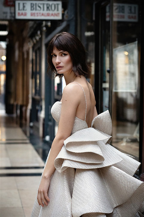 Bridal gown from Vivian Moawad shot in Paris with Typhanie Bayol, Emeline Marret. Shot in the passage verdeau.