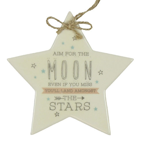Love Life 'Aim for the Moon' Star Hanging Plaque