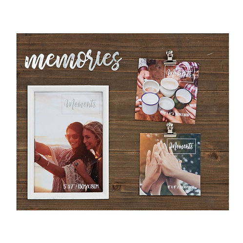 Wooden picture frame with 'Memories' title