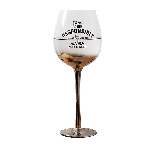 Gift wine glass with Drink Responsible wording