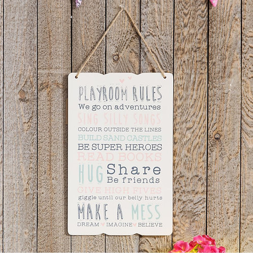 Love Life 'Playroom Rules' Hanging Plaque