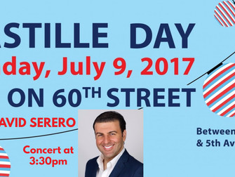 French baritone DAVID SERERO will perform an Open-Air concert for BASTILLE DAY in New York, East 60T