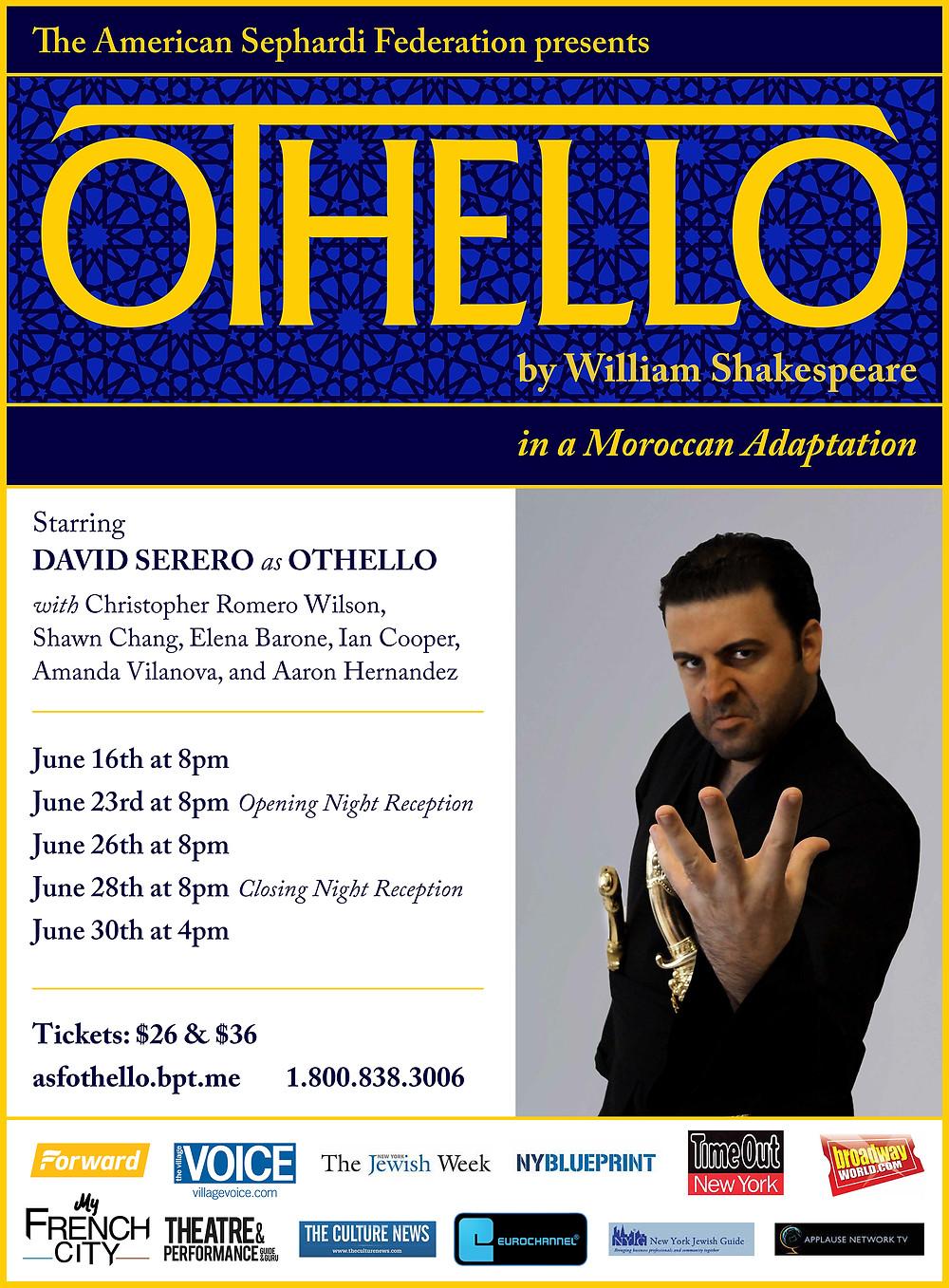 David Serero as Othello in New York