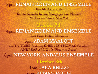 The 2nd Edition of the AMERICAN SEPHARDI MUSIC FESTIVAL Session: October 4th, 7th, and 8th 2018