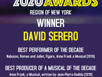 Le français David Serero remporte 3 New York BroadwayWorld Awards 2020