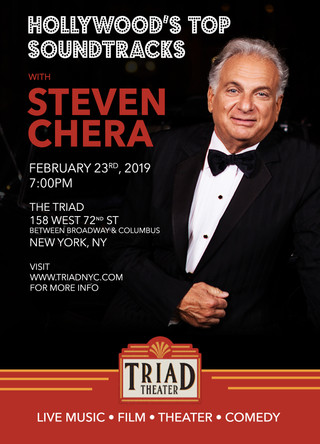 Celebrated Crooner Steven Chera performs Hollywood's top soundtracks at the Triad Theatre
