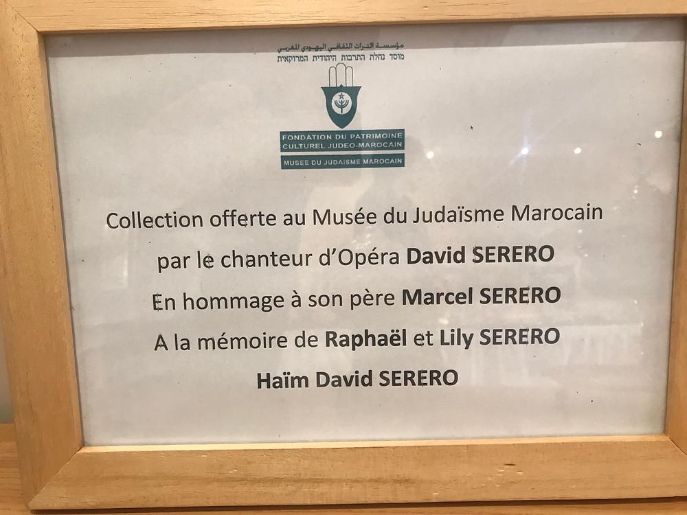 Le Musée Juif du Maroc à Casablanca reçoit le plus grand don d'art Judaica Marocain par le chanteur d'opéra David Serero