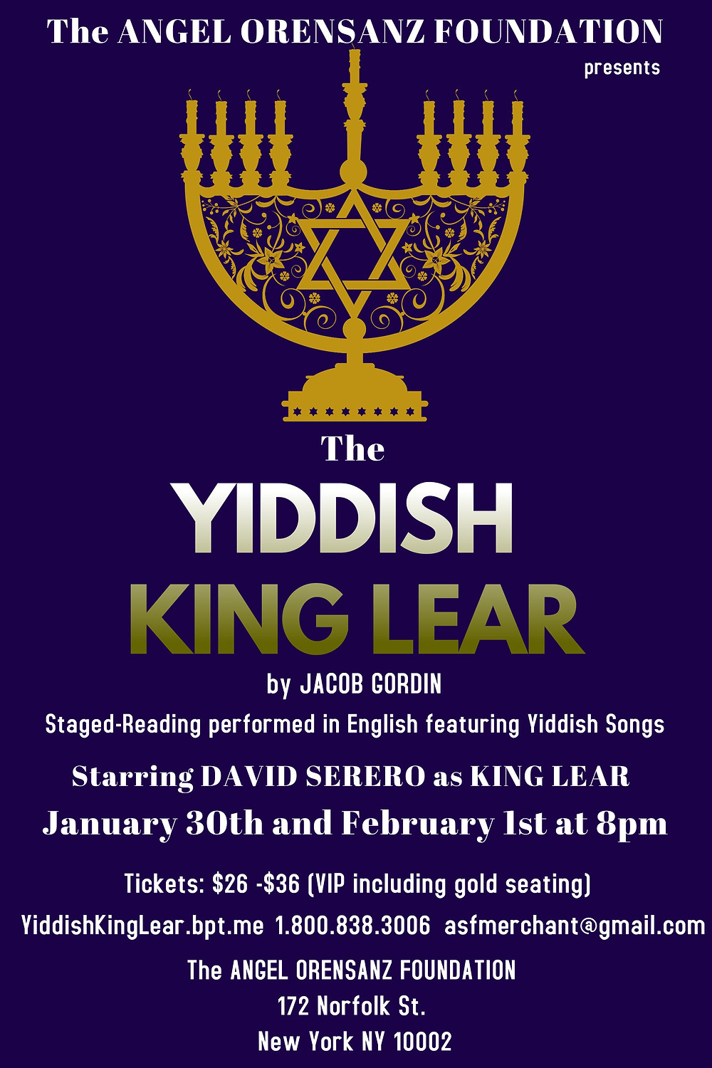 The Yiddish King Lear (Jewish King Lear) by Jacob Gordin - Starring David Serero as Lear