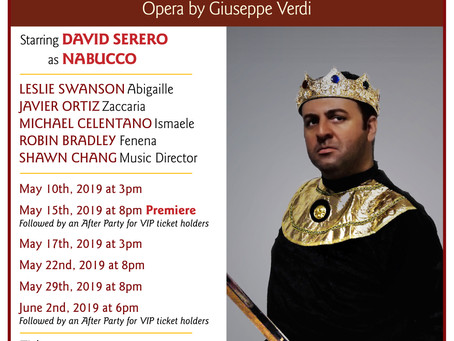 Opera NABUCCO to come Off-Broadway in May 2019 starring David Serero as Nabucco