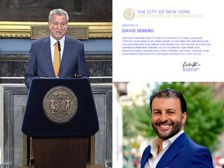 Le Maire de New York, Bill de Blasio, récompense David Serero pour sa Contribution Artistique