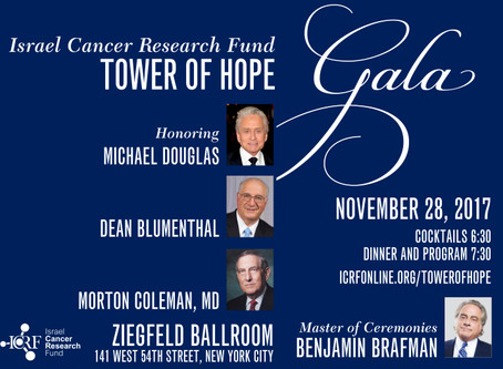 Israel Cancer Research Fund to Honor Actor Michael Douglas, Dr. Morton Coleman, Dean Blumenthal at G