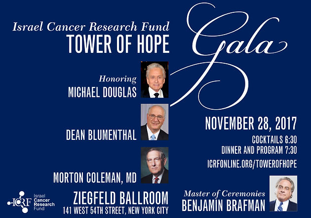 Israel Cancer Research Fund to Honor Actor Michael Douglas, Dr