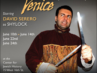 DAVID SERERO to star in the Merchant of Venice this June in New York