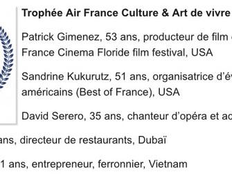 DAVID SERERO finaliste du TROPHEE AIR FRANCE - CULTURE & ART DE VIVRE du concours LES FRANCAIS D