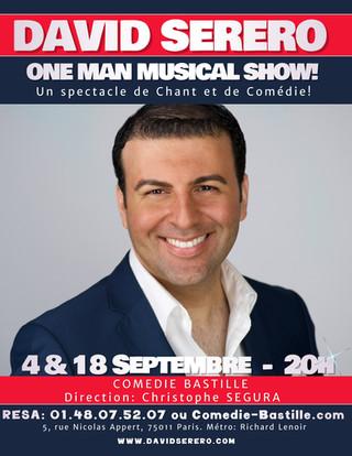 DAVID SERERO présente son ONE MAN MUSICAL SHOW à la COMEDIE BASTILLE les 4 et 18 septembre