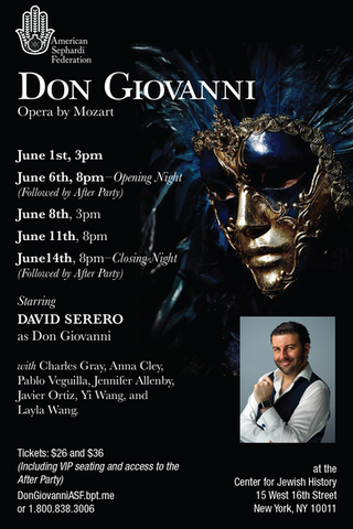 DON GIOVANNI coming Off-Broadway next month starring David Serero as Don Giovanni
