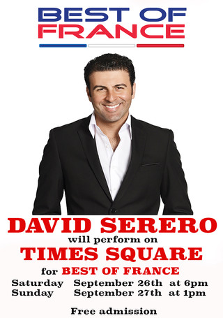 French baritone DAVID SERERO will perform two open air concerts on TIMES SQUARE on Sept 26 & 27.