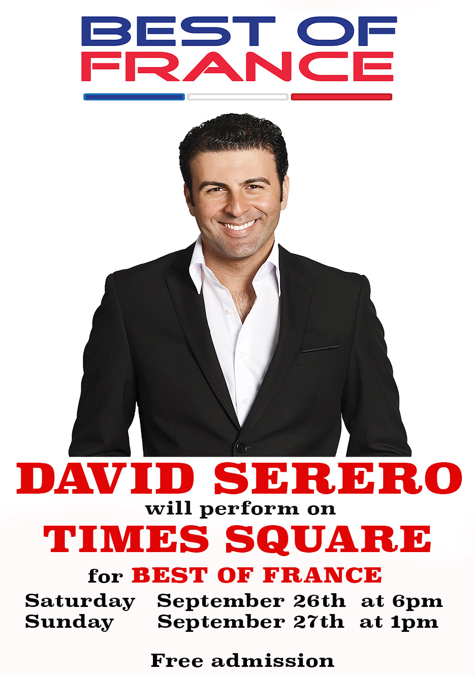 David Serero performs on Times Square for Best of France