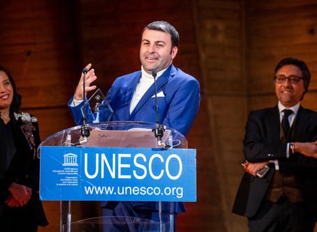 David Serero receives the Award for Diversity at the UNESCO