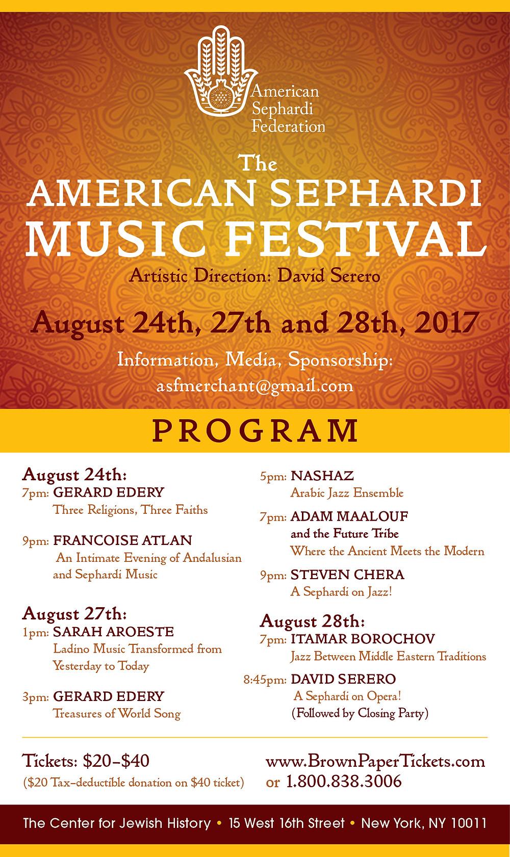 American Sephardi Music Festival 2017