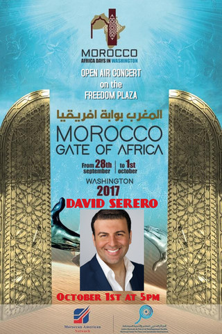 "Opera Star DAVID SERERO will perform for the Festival of Morocco ""Gate of Africa"" on the Freedom Pla"