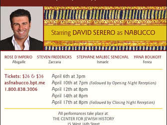 DAVID SERERO to star as NABUCCO in New York in April 2016