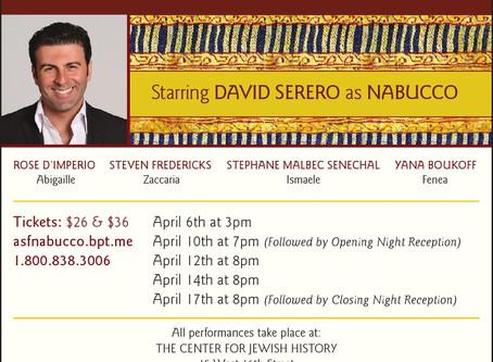 DAVID SERERO to star as NABUCCO in New York in April 2016