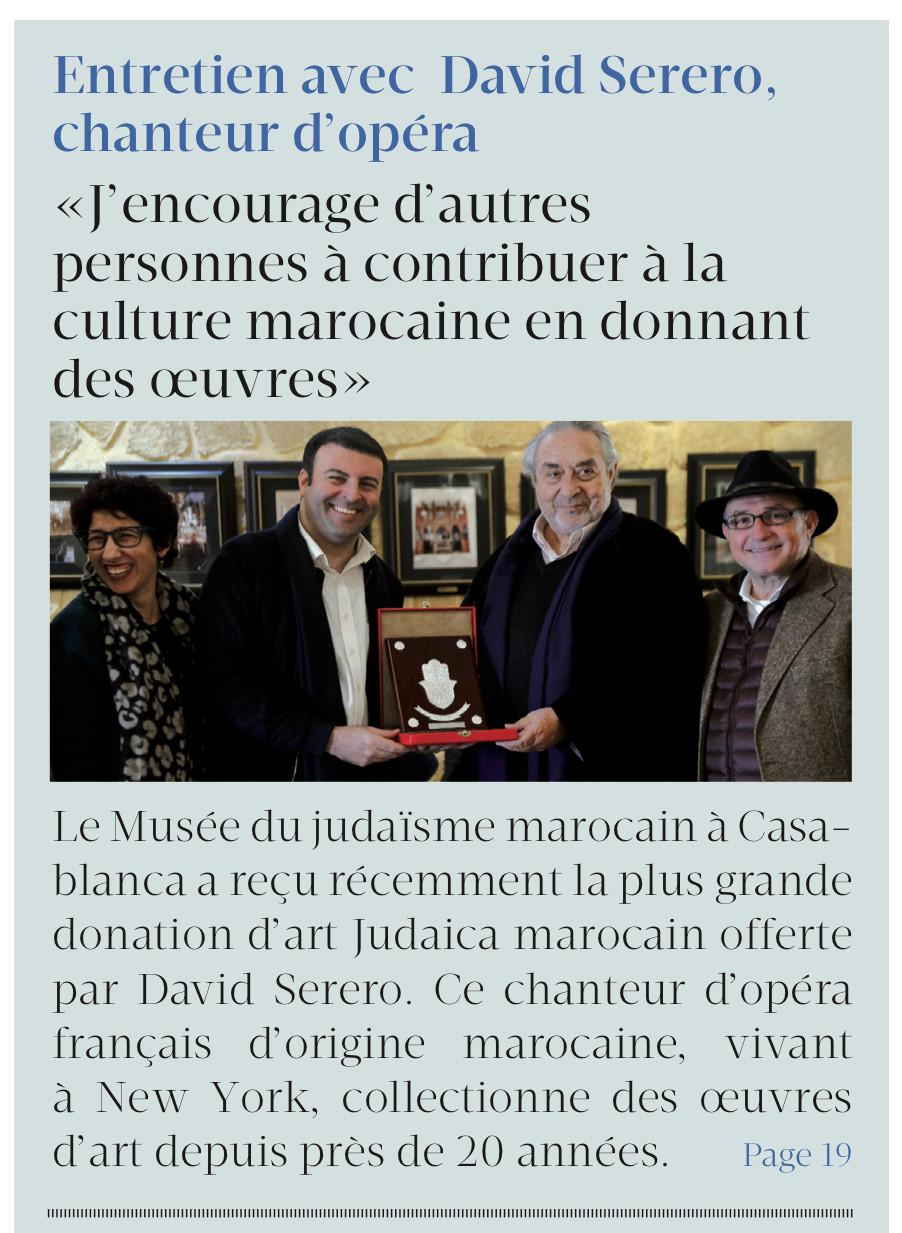 David Serero dans Le Matin - Maroc