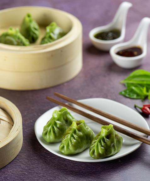 Basil Chilli Dumplings