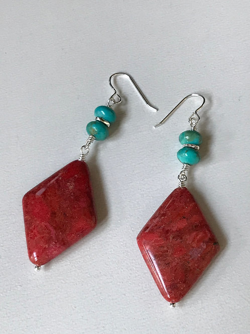 Red Coral Turquoise Sterling Silver Earrings