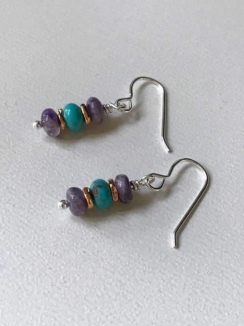 Chariote Turquoise Sterling Silver Earrings