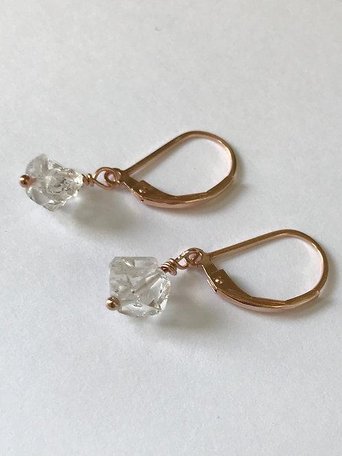 Rose Gold Filled Herkimer Diamond Earrings