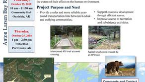 Public Comment on the Anton Larsen Road Extension Still Being Taken Through 11/26/18