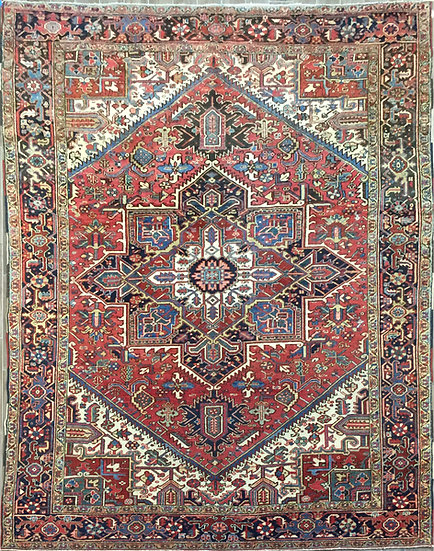 9A0369 Persian Heriz 9.2x11.6