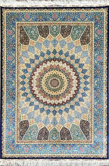 4A0196 Turkistan Silk Ghombad 4.1x6.1