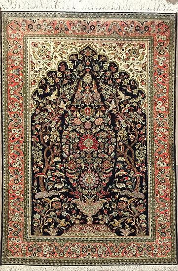 4A0110 Persian Qom _0 Silk 3.7x5.9