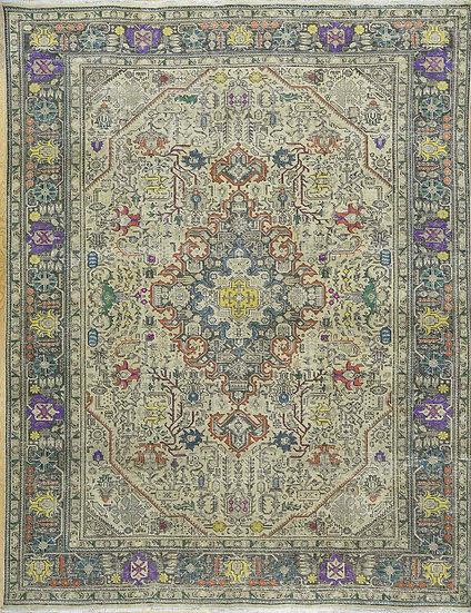 10A0127 Vintage Persian Tabriz 9.9x12.7