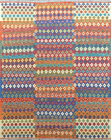 K178 Afghan Kilim 6.6x8.2