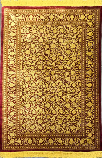 4A0197 Persian Qum %100 Silk 4.4x6.10