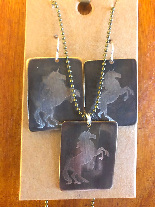 Unicorn earrings and pendant