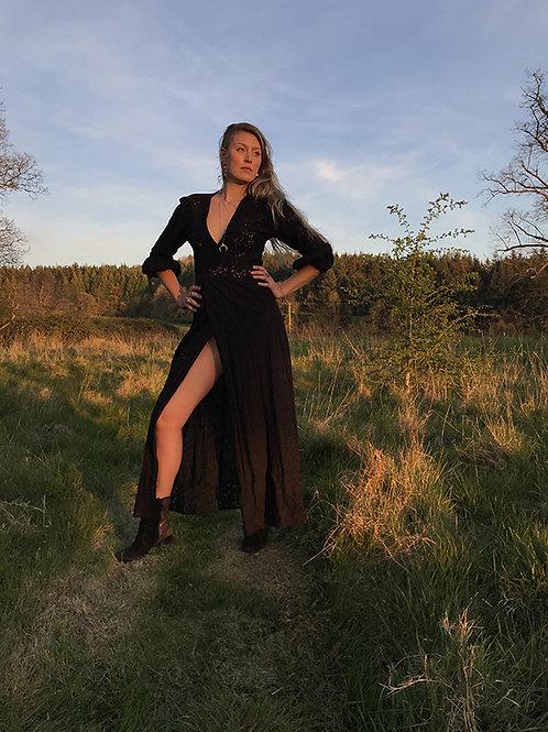 Black Lace Maxi Gypsy Dress