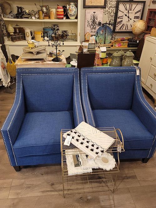 Glamorous Blue Chairs w/ Nailhead Detail, A2