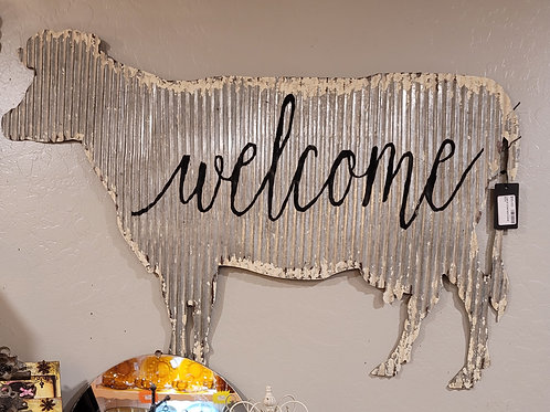 Welcome sign, friendly cow, corrugated metal, A2