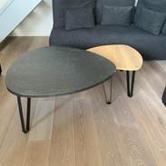 Tables de salon marbre et chêne avec piétements métalliques