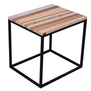Table cube en marqueterie